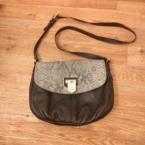 Aimee Kestenberg Black Reptile Print Crossbody Bag